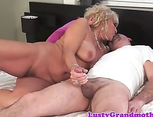 Chubby granny fucked hard after blowjob
