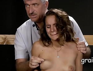 Little cutie get her boobs atrociously squeezed