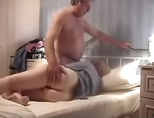 Horny old mature couple enjoying hot sex at home