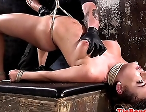 Busty BDSM submissive flogged and pussytoyed