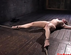 Blonde bdsm sub tied to box for whipping