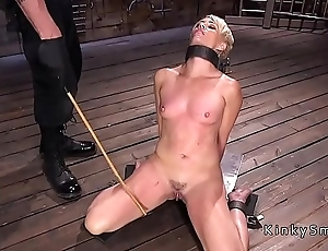 Blonde Milf bound and toyed