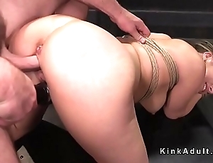 Blonde in bondage is fucked and vibed