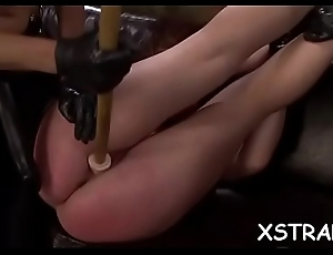 Brunette hair screwed with monstrous strapon