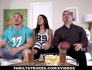 FamilyStrokes- Cute Stepsis  Flashes Tits And Fucks Stepbro