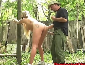 Bigtits sub dominated outdoors by maledom