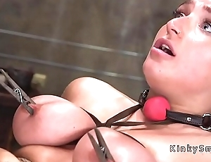 Huge tits slave gets bdsm training