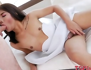 Hot ladyboy takes hard dick adjacent to her anal