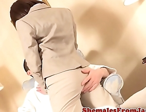 Office ladyboy cocksucked before fucked right into an asshole
