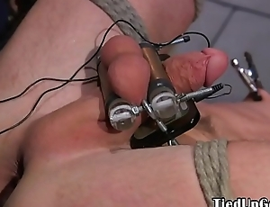 BDSM dom electro clamps subs cock and balls