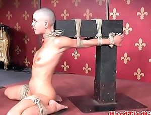 Flogged sub babe disciplined apart from maledom