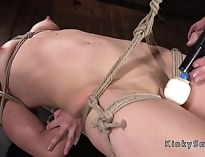 Gagged small special blonde resemble toyed
