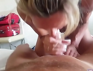 Blonde MILF engulfing husband best friend unhurriedly ! More on amateur4u.com