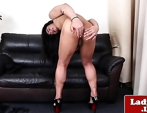 Real ladyboy jerks her dick while chaff