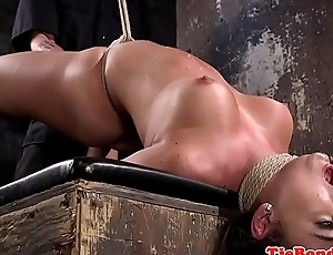 Tied up busty bdsm sub fingered and whipped