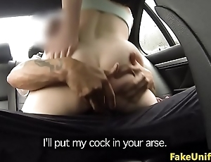 Busty pink become angry slut pussyfucks cop in car