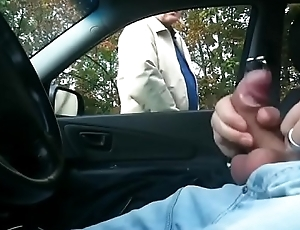 Nasty grey man spies for be transferred to guy jerking in a car - Streampornvids.com