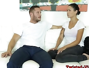 Busty babe doggystyled on couch before facial