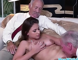 Pussylicked amateur babe banged by a senior