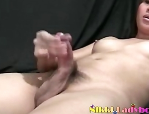 Shy and cute Thai Ladyboy Nu wanking her tiny hard cock