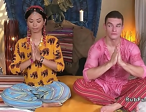 Oriental yoga tutor licked and fucked