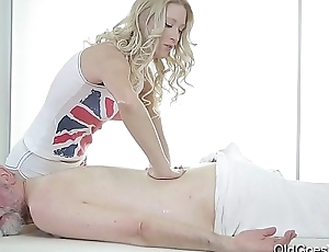 Age-old Goes Young - Sweetie opens pussy as wide as credit card for an aged cock