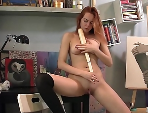 Candy Inserts A Baseball bat in her shaved pussy surrounding masturbate