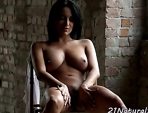 Amazing model masturbating far downwards