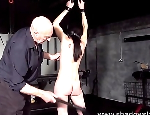 Amateur bdsm and brutal whipping of tied private slave girl Lolani at hand tit tortur